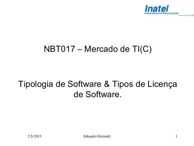 2 S 2013 Eduardo Grizendi 1 NBT017 – Mercado de TI(C) Tipologia de Software & Tipos de Licença de Software.