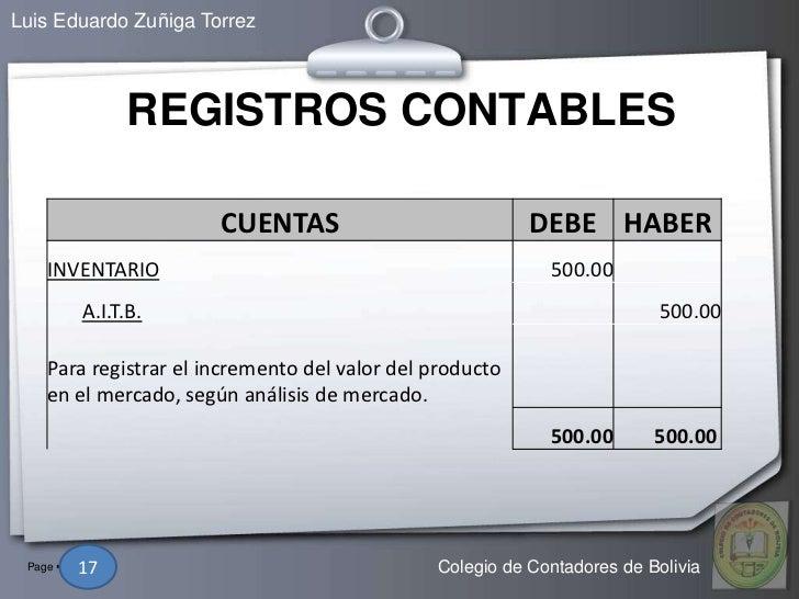 Luis Eduardo Zuñiga Torrez                  REGISTROS CONTABLES                        CUENTAS                           D...