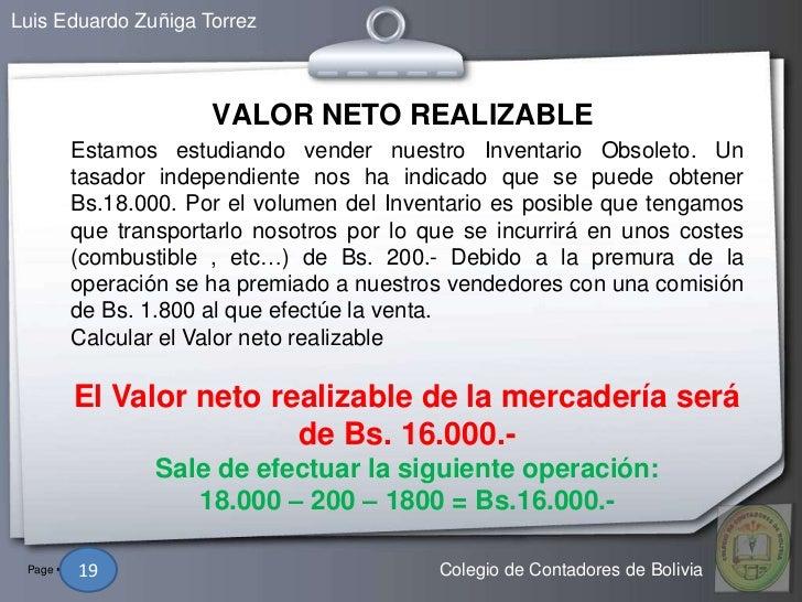 Luis Eduardo Zuñiga Torrez                      VALOR NETO REALIZABLE        Estamos estudiando vender nuestro Inventario ...