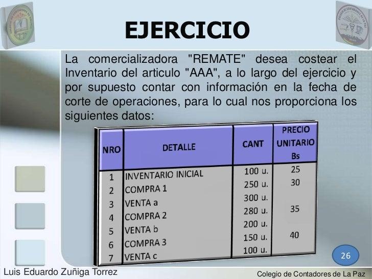 """EJERCICIO             La comercializadora """"REMATE"""" desea costear el             Inventario del articulo """"AAA"""", a lo largo ..."""
