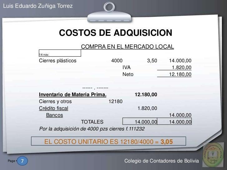 Luis Eduardo Zuñiga Torrez                          COSTOS DE ADQUISICION                                    COMPRA EN EL ...