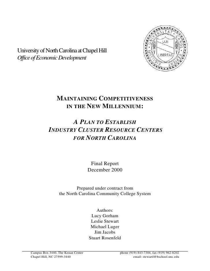 University of North Carolina at Chapel Hill Office of Economic Development                           MAINTAINING COMPETITI...
