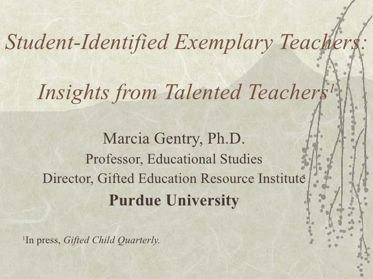 Gifted Teachers: What Makes Them Tick?