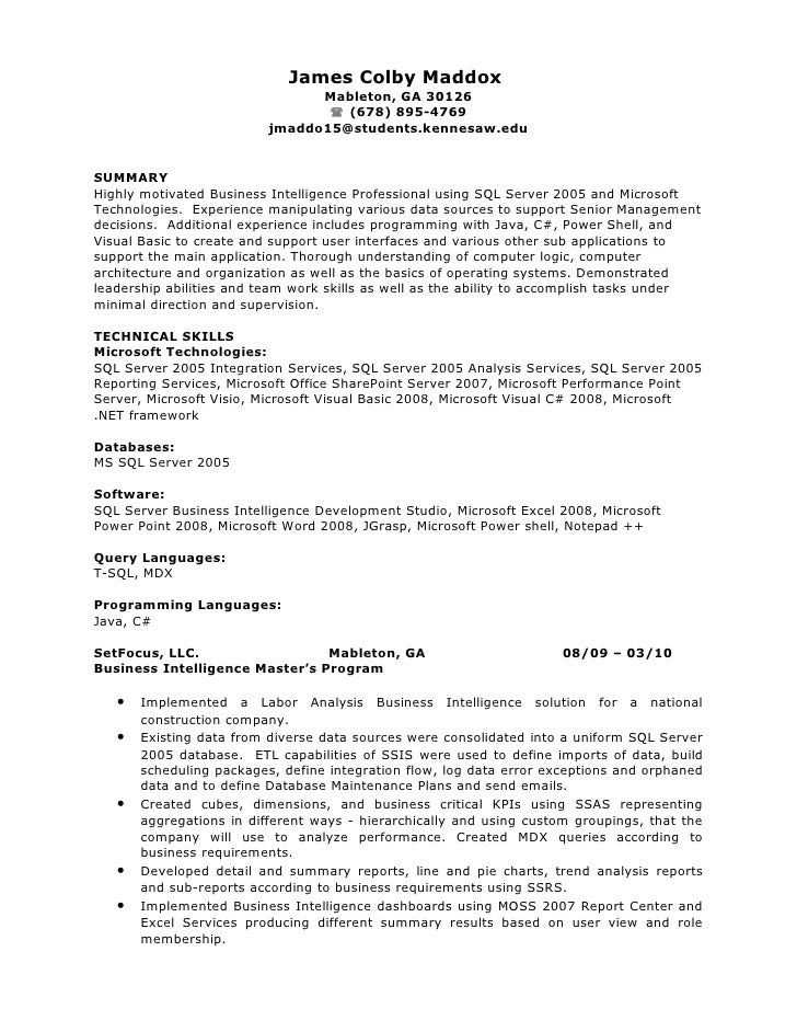 software developer resume james colby maddox mableton - Resume Summary Software Engineer