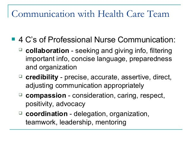 effective communication among health care team Team communication skills make 2 what are the benefits of effective team communication it distributes the work among professionals in ways that.