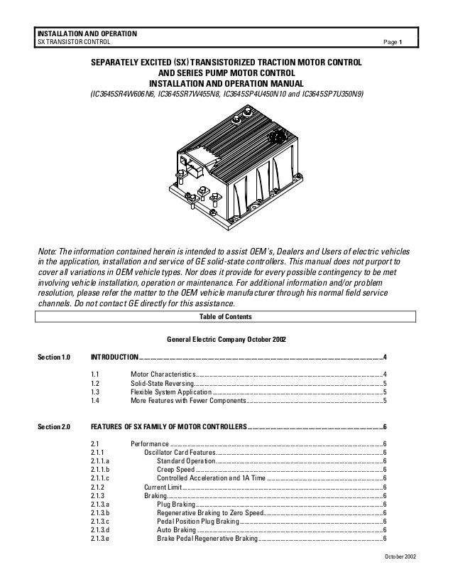 INSTALLATION AND OPERATION SX TRANSISTOR CONTROL  Page 1  SEPARATELY EXCITED (SX) TRANSISTORIZED TRACTION MOTOR CONTROL AN...