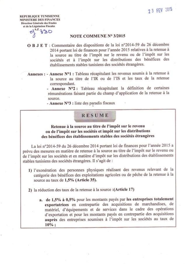 Retenue A La Source Tunisie