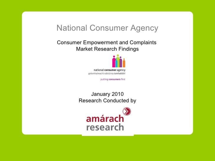 Irish Consumer Empowerment and Complaining, January 2010