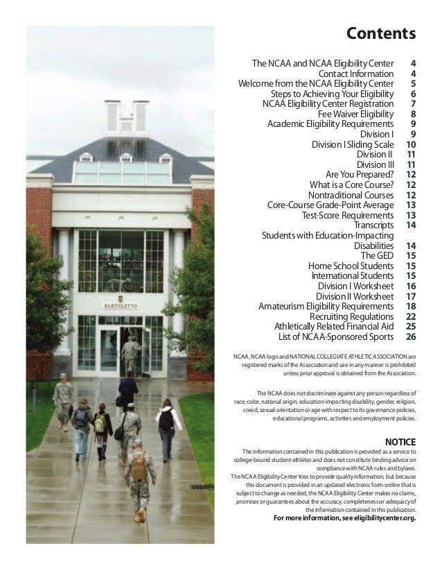 Ncaa 2012 13 guide for the collegebound studentathlete – Ncaa Eligibility Worksheet