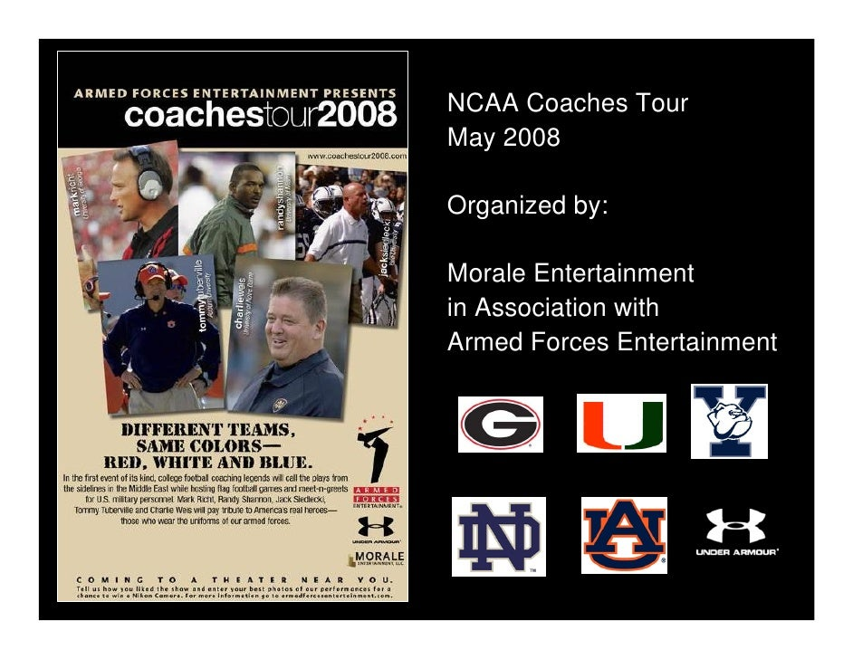 NCAA Coaches Tour May 2008  Organized by:  Morale Entertainment in Association with Armed Forces Entertainment