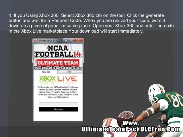 NCAA Football 14 Ultimate Team Pack DLC Codes - Free - Xbox 360 - PS3