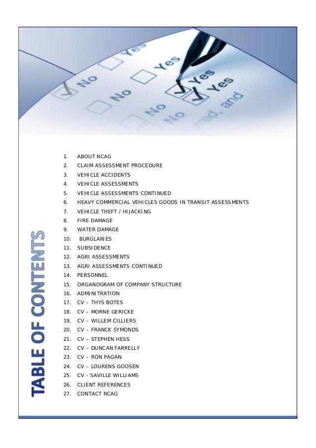 Ncag assessors & loss adjusters - proposal - profile ...