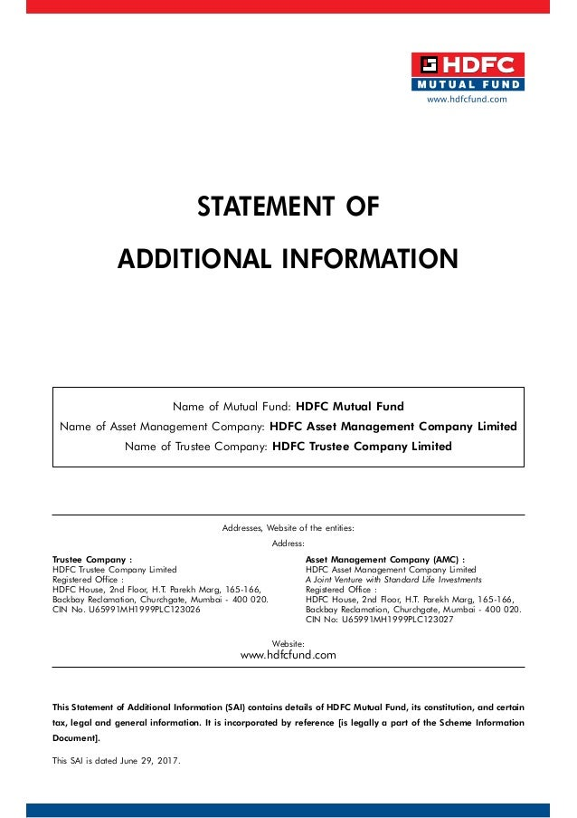 Statement of Additional Information for HDFC Mutual Fund