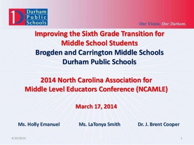 Improving the Sixth Grade Transition for Middle School Students Brogden and Carrington Middle Schools Durham Public School...
