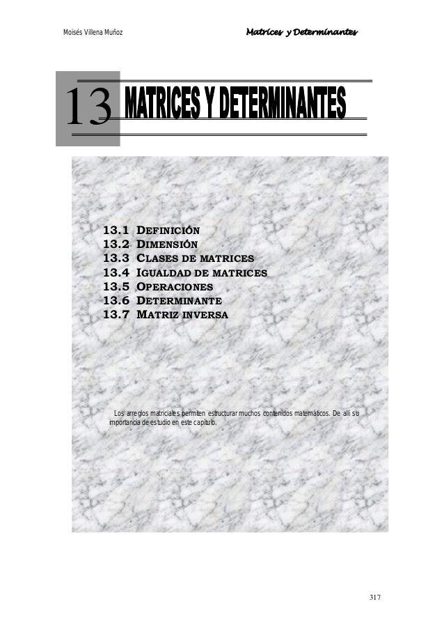 Moisés Villena Muñoz Matrices y Determinantes 317 13 13.1 DEFINICIÓN 13.2 DIMENSIÓN 13.3 CLASES DE MATRICES 13.4 IGUALDAD ...