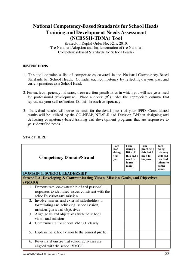 Deped National Competency Based Standards For School Heads
