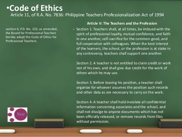 456 Reminder On The Code Of Ethics For Professional Teachers
