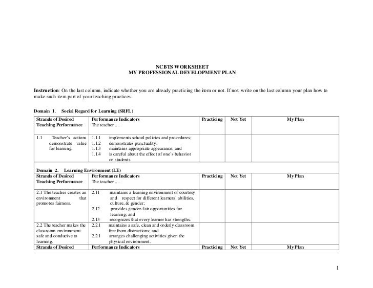 NCBTS WORKSHEET                                                  MY PROFESSIONAL DEVELOPMENT PLAN   Instruction: On the la...