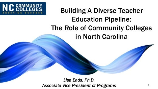 Building A Diverse Teacher Education Pipeline: The Role of Community Colleges in North Carolina 1 Lisa Eads, Ph.D. Associa...