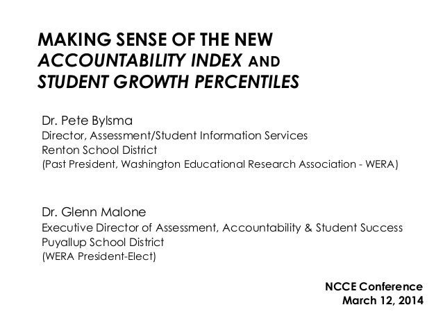 MAKING SENSE OF THE NEW ACCOUNTABILITY INDEX AND STUDENT GROWTH PERCENTILES Dr. Pete Bylsma Director, Assessment/Student I...