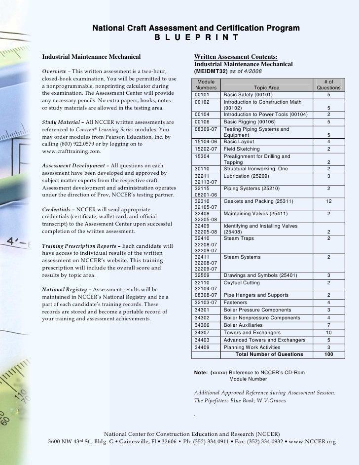 National Craft Assessment and Certification Program                                    B L U E P R I N TIndustrial Mainten...