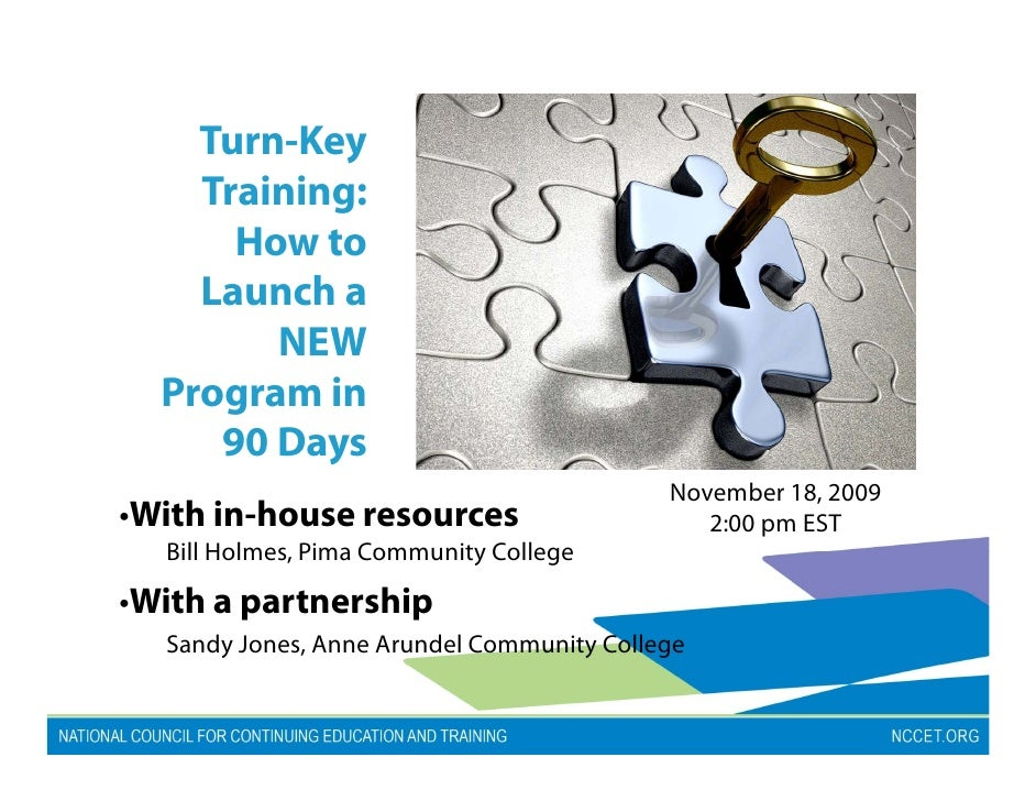 Turn Key     Turn-Key     Training:       How to     Launch a         NEW   Program in      90 Days                       ...