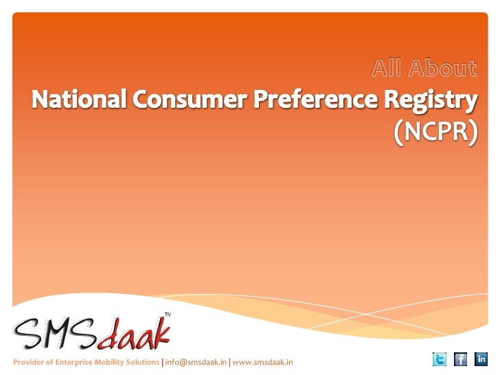 National Consumer Preference Registry