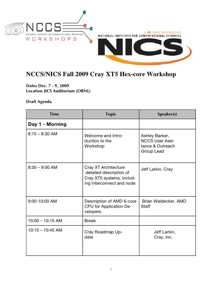 NCCS/NICS Fall 2009 Cray XT5 Hex-core Workshop Dates Dec. 7 - 9, 2009 Location JICS Auditorium (ORNL)  Draft Agenda       ...
