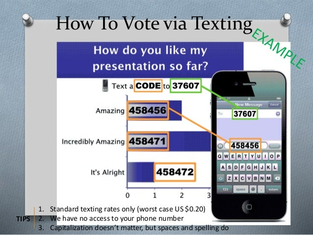 How To Vote via Texting 1. Standard texting rates only (worst case US $0.20) 2. We have no access to your phone number 3. ...
