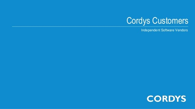 Cordys CustomersIndependent Software Vendors
