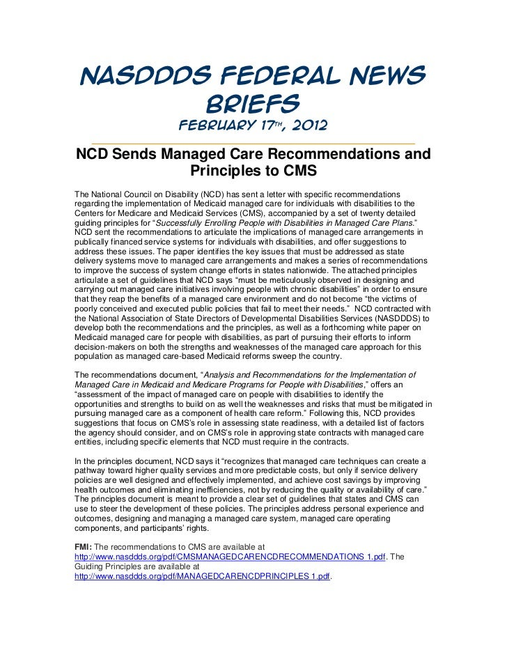 NASDDDS Federal News        Briefs                  February 17th, 2012    _______________________________________________...