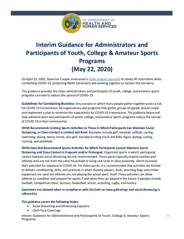 Interim Guidance for Administrators and Participants of Youth, College & Amateur Sports Programs 1 Interim Guidance for Ad...