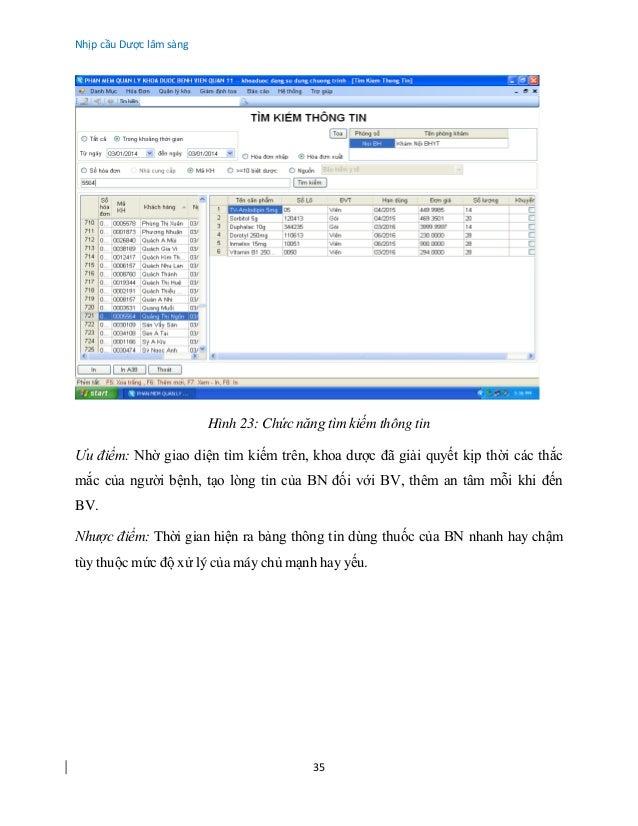 Nhịp cầu Dược lâm sàng 35 Hình 23: Chức năng tìm kiếm thông tin Ưu điểm: Nhờ giao diện tìm kiếm trên, khoa dược đã giải qu...