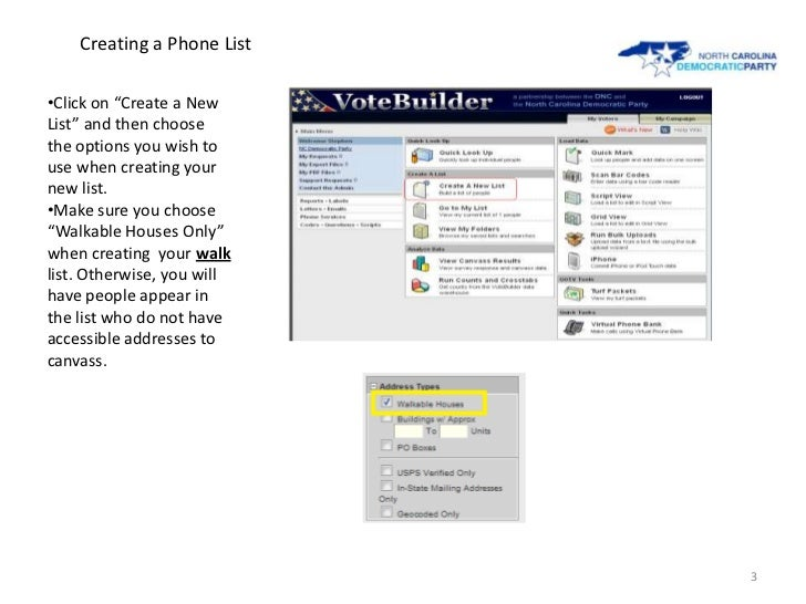 Pulling Targeted GOTV Walk Lists Slide 3