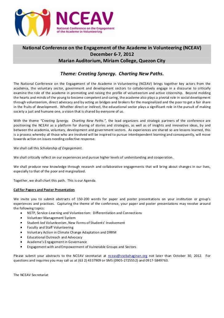 National Conference on the Engagement of the Academe in Volunteering (NCEAV)                                  December 6-7...