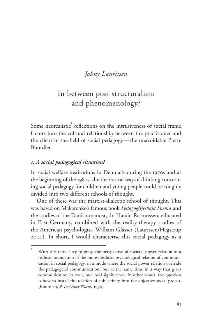 Johny Lauritsen                In between post structuralism                   and phenomenology?                        1...