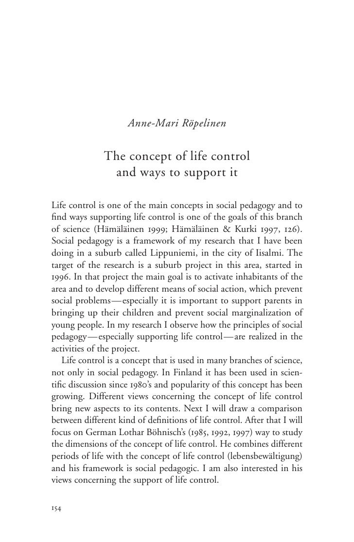 Anne-Mari Röpelinen                 The concept of life control                 and ways to support it  Life control is on...