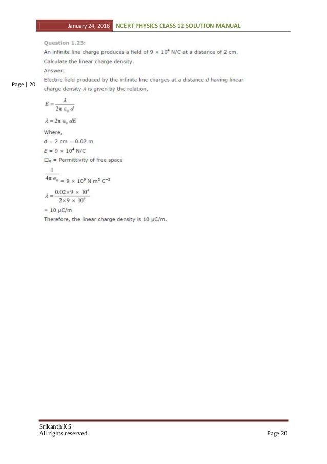 NCERT Class 12 Physics solution Manual