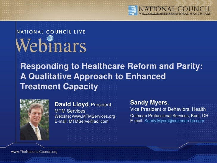 Parity and Healthcare Reform: Community Behavioral Health at a Crossroads