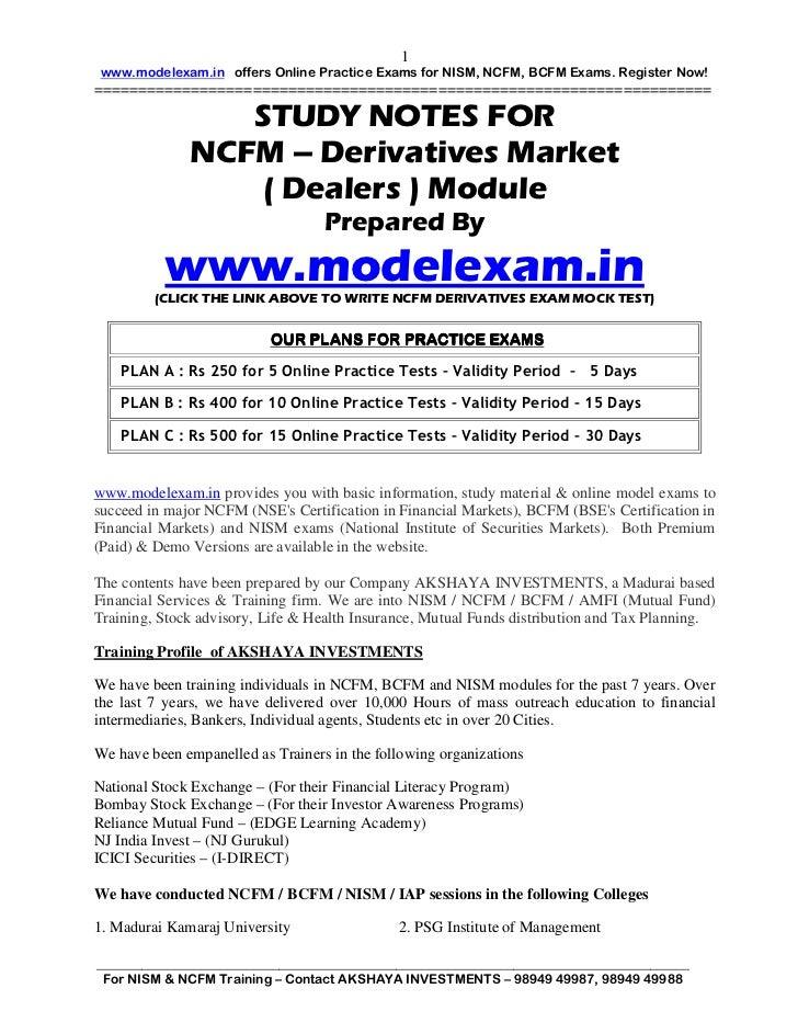 Ncfm Derivatives Module Pdf