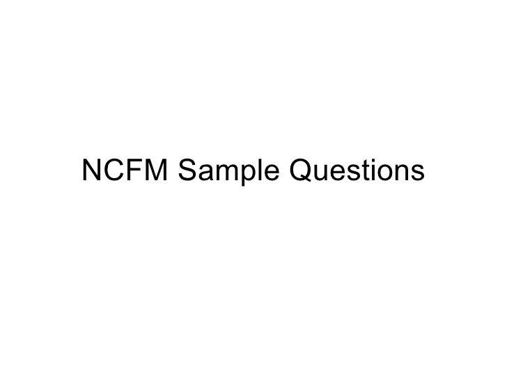 ncfm exam paper