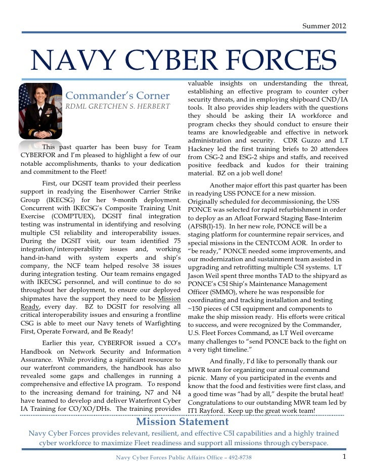 Summer 2012   NAVY CYBER FORCES                                                            valuable insights on understand...