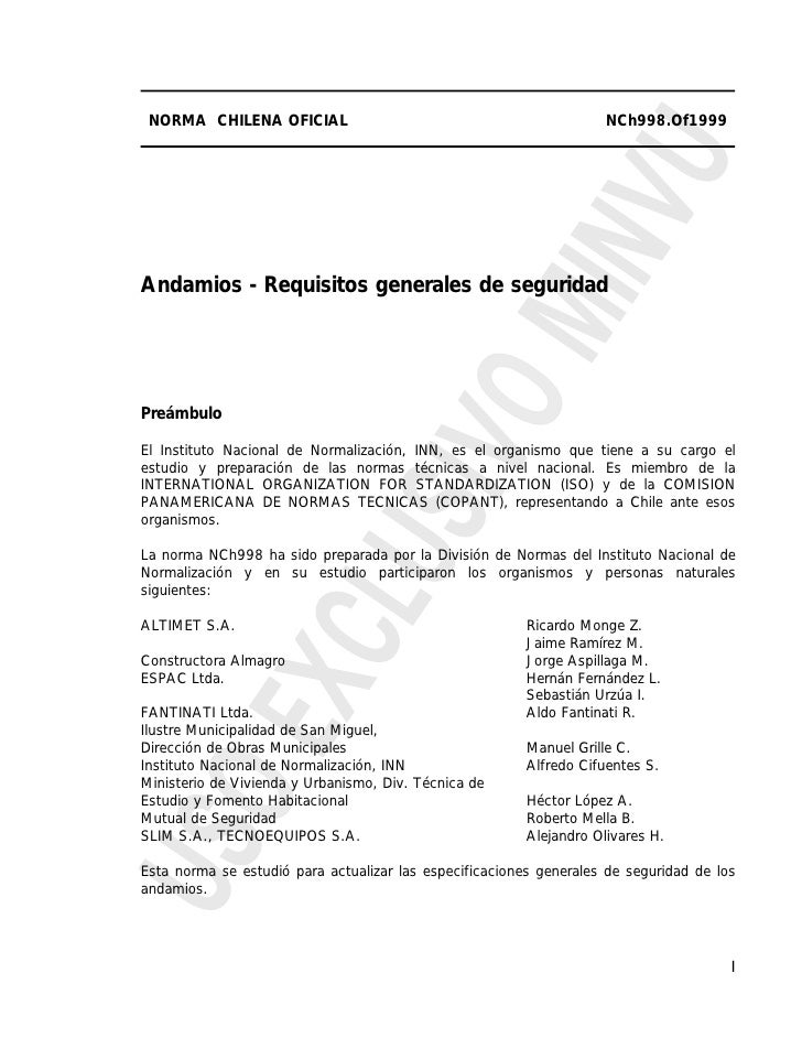 NORMA CHILENA OFICIAL                                               NCh998.Of1999Andamios - Requisitos generales de seguri...