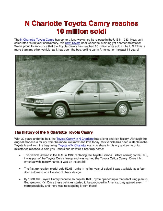 The N Charlotte Toyota Camry has come a long way since its release in the U.S in 1983. Now, as it celebrates its 30 year a...