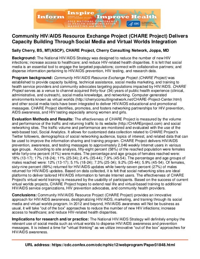 Community HIV/AIDS Resource Exchange Project (CHARE Project) Delivers Capacity Building Through Social Media and Virtual W...
