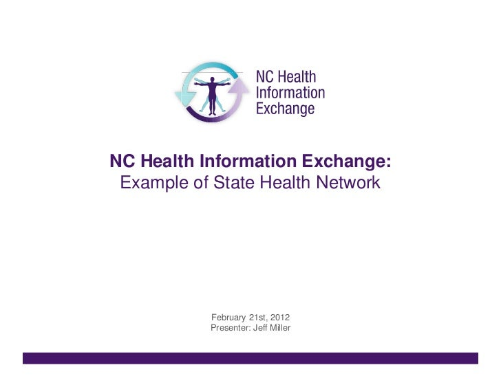 NC Health Information Exchange: Example of State Health Network           February 21st, 2012           Presenter: Jeff Mi...