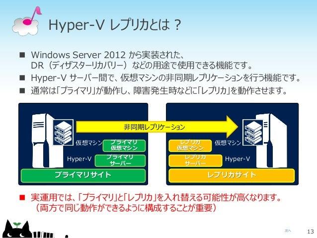 次へ Hyper-V レプリカとは?  Windows Server 2012 から実装された、 DR(ディザスターリカバリー)などの用途で使用できる機能です。  Hyper-V サーバー間で、仮想マシンの非同期レプリケーションを行う機能で...