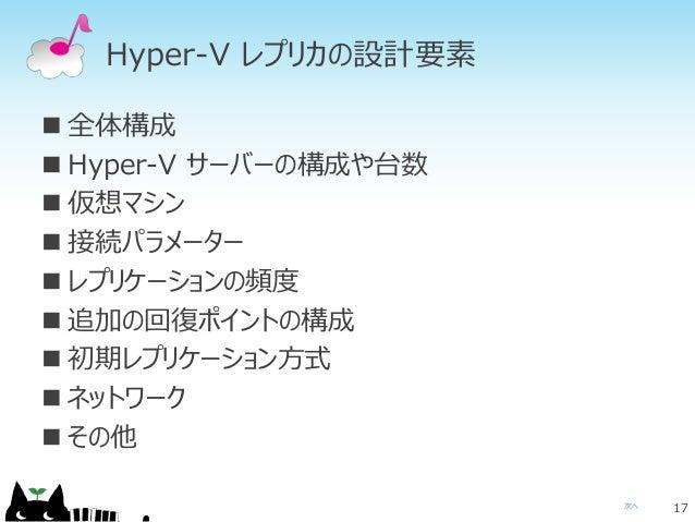 次へ Hyper-V レプリカの設計要素  全体構成  Hyper-V サーバーの構成や台数  仮想マシン  接続パラメーター  レプリケーションの頻度  追加の回復ポイントの構成  初期レプリケーション方式  ネットワーク ...