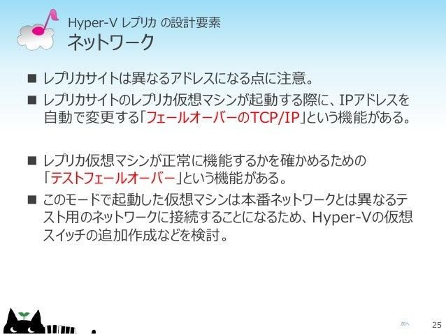 次へ Hyper-V レプリカ の設計要素 ネットワーク  レプリカサイトは異なるアドレスになる点に注意。  レプリカサイトのレプリカ仮想マシンが起動する際に、IPアドレスを 自動で変更する「フェールオーバーのTCP/IP」という機能がある...