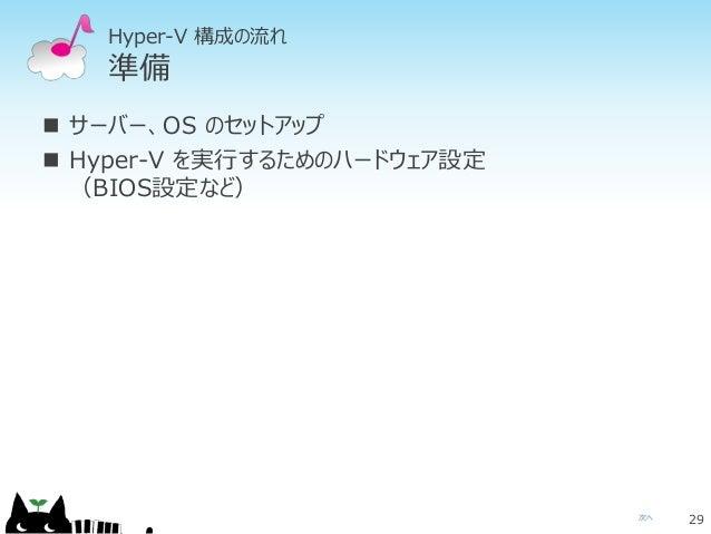 次へ Hyper-V 構成の流れ 準備  サーバー、OS のセットアップ  Hyper-V を実行するためのハードウェア設定 (BIOS設定など) 29